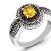 Sterling Silver Citrine and Smoky Quartz and Diamond Ring