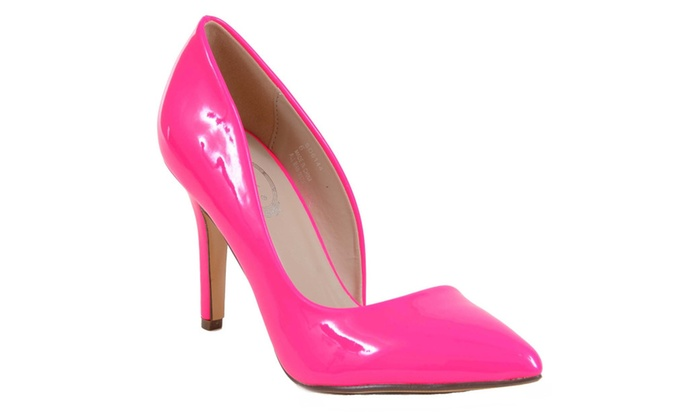 Hot Neon Pink Patent D'Orsay Pointy Toe Women's Heels Pumps