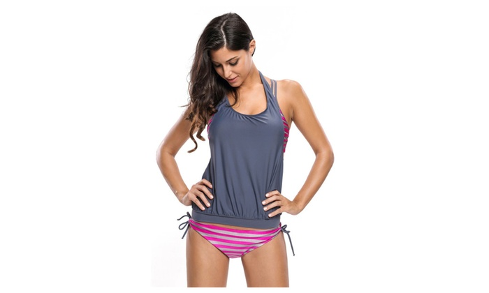 fb41c37ea5734 Women s Rosy Grey Striped Bathing Suit with Halter Beach Cover Top ...