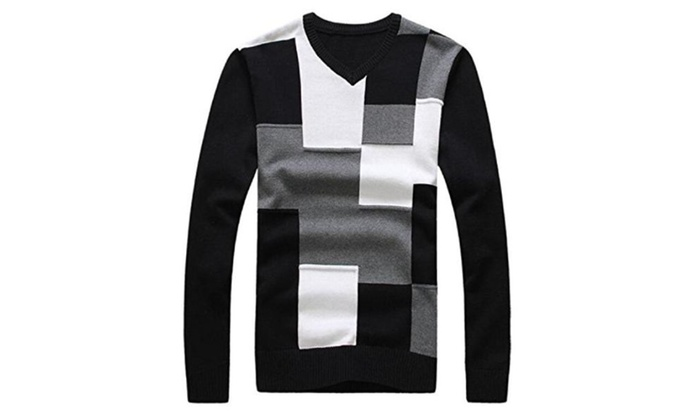 Men'S Fashion Splicing Patchwork Pullovers Male Casual
