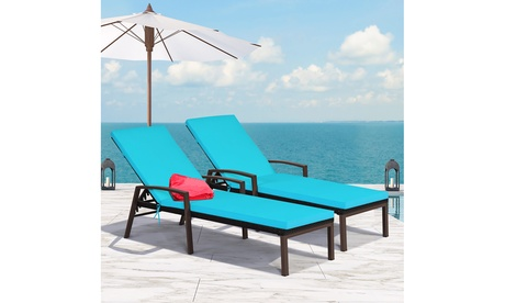 Costway 2PCS Patio Rattan Lounge Chair Chaise Recliner Back Adjustable Cushion