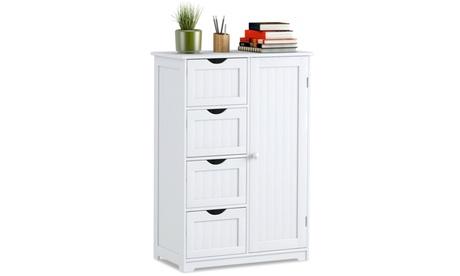4 Drawer Bathroom Cabinet Storage Cupboard 2 Shelves Free Standing