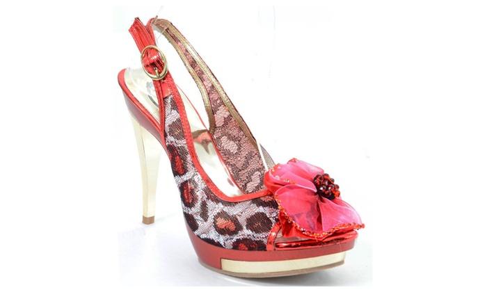 Red Leopard Jeweled Broach Platform Slingback Peep toe Heels