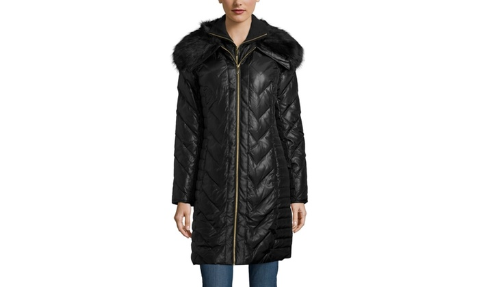 Via Spiga Quilted Puffer Coat With Faux Fur Trim Collar