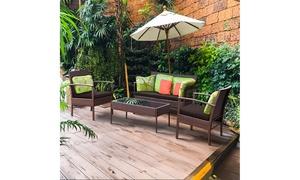4 PCS Patio Rattan Wicker Furniture Set Brown Loveseat Sofa Cushioned