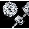 925 Sterling Silver/18K Gold Plate Crown Shaped Crystal Stud Earrings