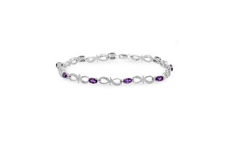 2.11ctw Sterling Silver Amethyst & White Diamond Link Bracelet 529e986a-c4dc-4b06-93b0-653fd361d3fa
