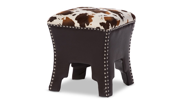 Sally Cow Print Fabric Brown Faux Leather Accent Stool