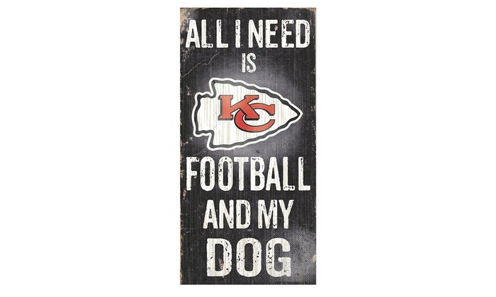 Fan Creations Sign Kansas City Chiefs Football and My Dog Multicolored
