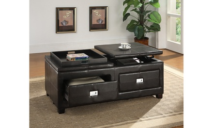 Indy Contemporary Combination Cocktail Table and Storage Ottoman