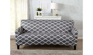 Tori Form-Fitting Diamond-Patterned Printed Furniture Slipcover