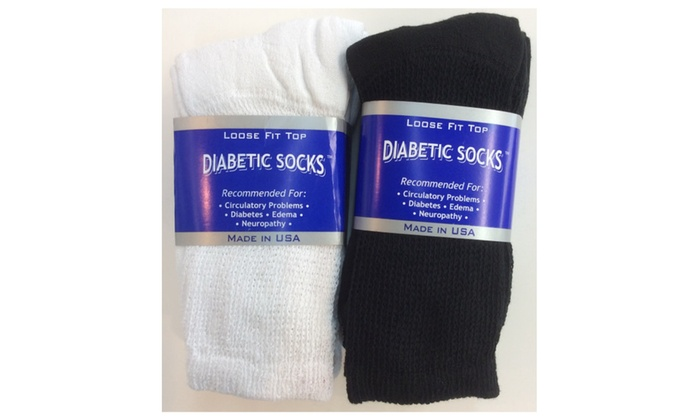6 Pairs Diabetic Socks 3 Pairs White + 3 Pairs Black # 6 MADE IN USA