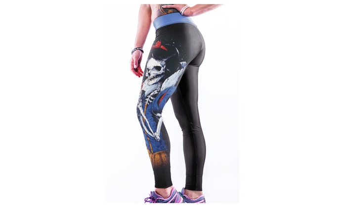 Women's Evil Skull Queen and Bad Apple Printed Bodycon Yoga Pants - one size