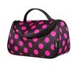 Zodaca Black Hot Pink Dots Travel Organizer Bag Makeup Case w Mirror