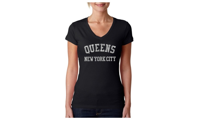 Women's V-Neck T-Shirt - POPULAR NEIGHBORHOODS IN QUEENS, NY