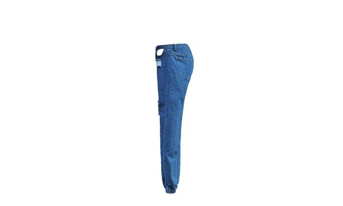 Women's Destroyed Hole Denim Pencil Pants