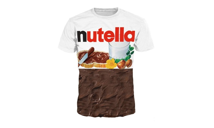 Syins 3D Printing Sleeve Nutella Crewneck tee shirts for men