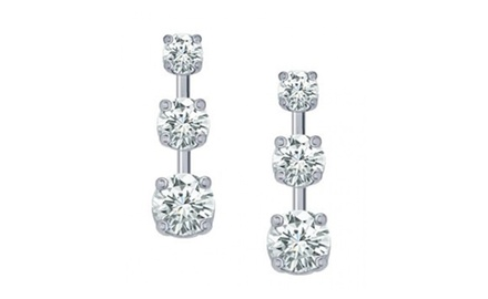1.00 Ct Ladies Three Stone Diamond Drop Earrings