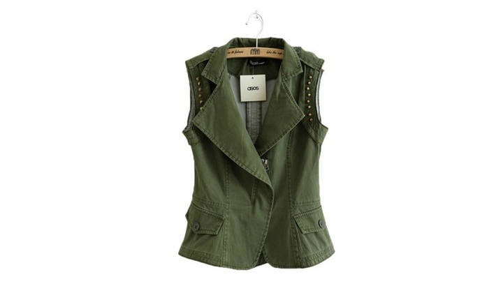 Women's Punk Drawsting Military Hiking Fatigue Vest Jacket