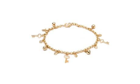 18K Gold Plated Gold Key and Ball Charm Bracelet ad5e883d-62ff-4ec1-8fa1-b108b61ddad7