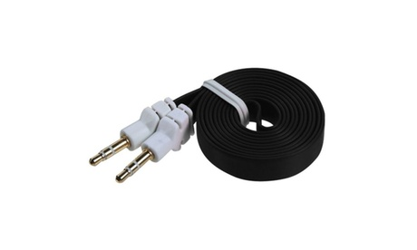 Black Flat 3.5mm M/M Audio Stereo Aux Auxiliary Cord iPhone 4 4S 5 5S 6dd67a74-d751-4339-b22b-903a1d02dde5