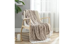 Flannel Fleece Throw Blanket with Decorative Tassels