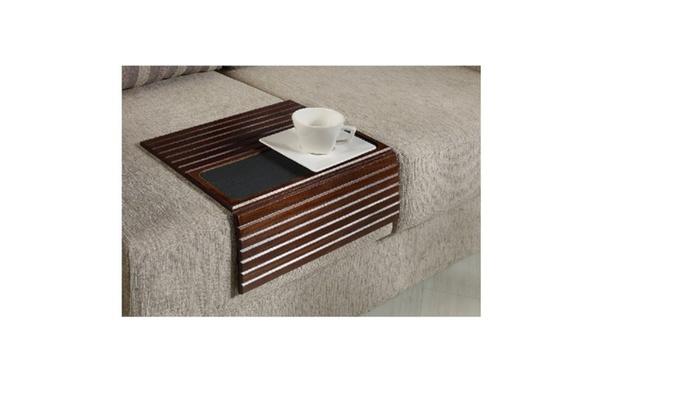 Kleeger Sofa Arm Tray Table Wood Side Flexible