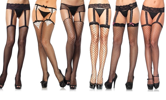 ee495a9e9a2 Leg Avenue Women s Fishnet Garterbelt Stockings. (Plus Sizes Available).