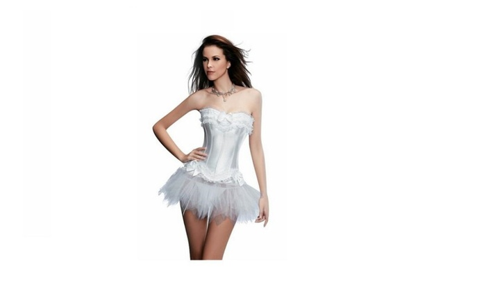 Ladies  Lace up Corset Skirt Moulin Rouge Showgirl Clubwear