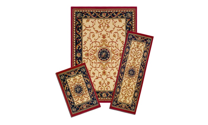 Capri 3 Piece Rug Set Wrought Iron Medallion Groupon