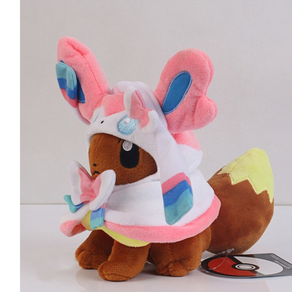 Pokemon Center Eevee Poncho Sylveon Nymphia 7 inch Plush Doll Soft Figure Toy