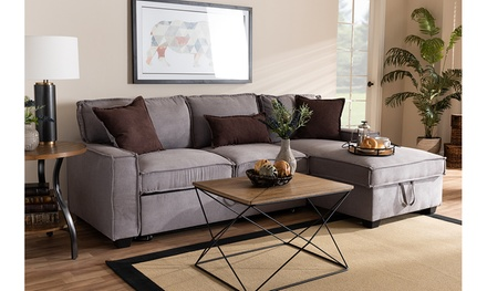 Emile Fabric Right Facing Storage Sectional Sofa with Pull-Out Bed