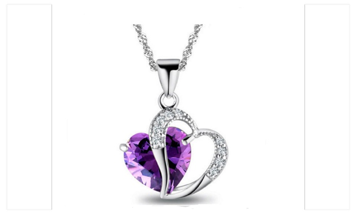 Sparkling Selections: Heart Crystal Amethyst Pendant Necklace