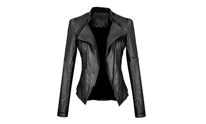 DPN Womens Faux Leather Moto Jacket