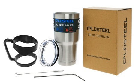ColdSteel 30 Oz. Stainless Steel Tumbler with Handle, Straw and Brush
