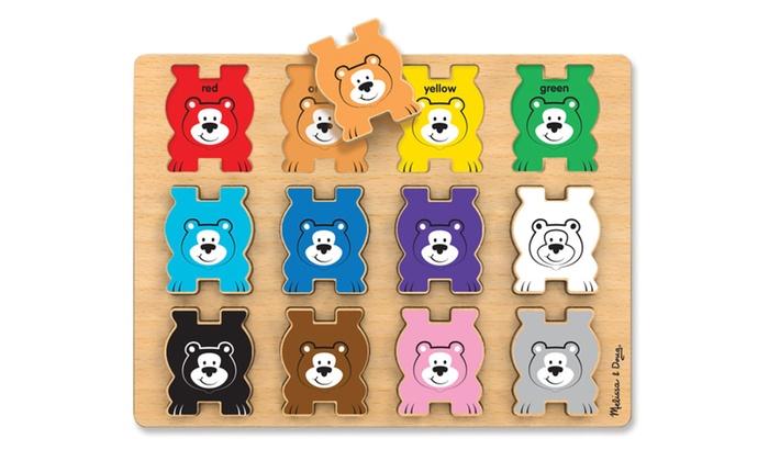 Melissa Doug Stacking Wooden Chunky Puzzle Rainbow Bears 9027