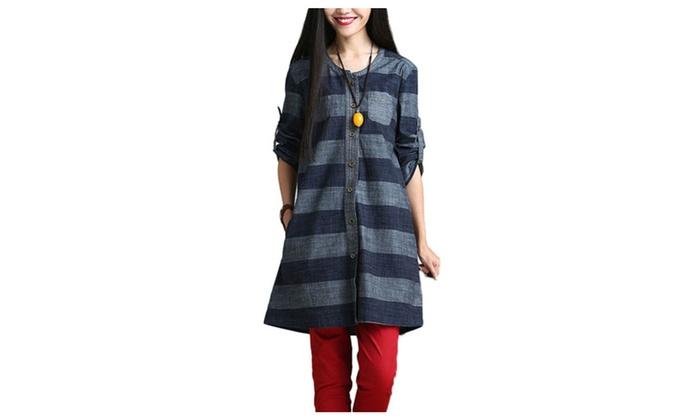 DPN Women's Fashion Flax Stripes Print Unpredictable Long Sleeve Coat