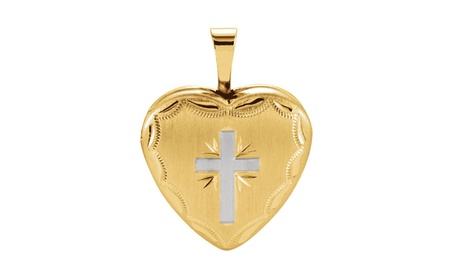 14k Yellow Gold Plated Sterling Silver Heart Cross Locket 9030e927-e882-4e60-832c-7d2eed70ea3a