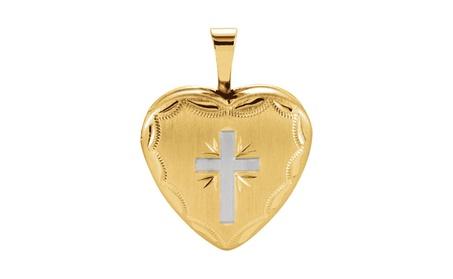 14k Yellow Gold Plated Sterling Silver Heart Cross Locket 9030e927-e882-4e60-832c-7d2eed70ea3a