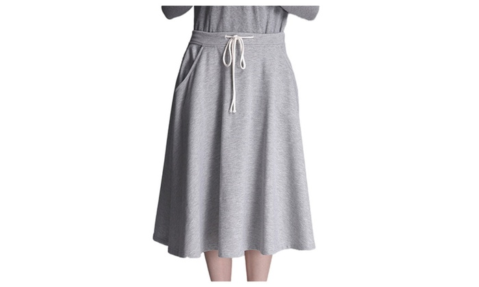 Women's Casual Drwastring Draped A Line Tea Lengh Skirt - Grey / One Size
