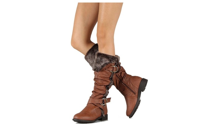 Furry Cuff Vegan Leather Knee High Slouch Rider Boots Tan