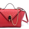 Lipstick Lock Trapeze Tote Leather Clutch Hand Bags for Women