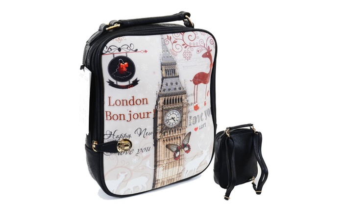 London Bon Jour Faux Crinkle Leather Zippered Backpack Book Bag
