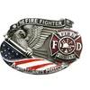 Vintage  Hero Firefighter American Enamel Belt Buckle