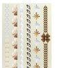 Zodaca Gold/Siver Metallic Temporary Jewellery Tattoo Flower Bracelet