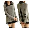 Women's Skeleton Design Knitted Sweater Shirt Open Back
