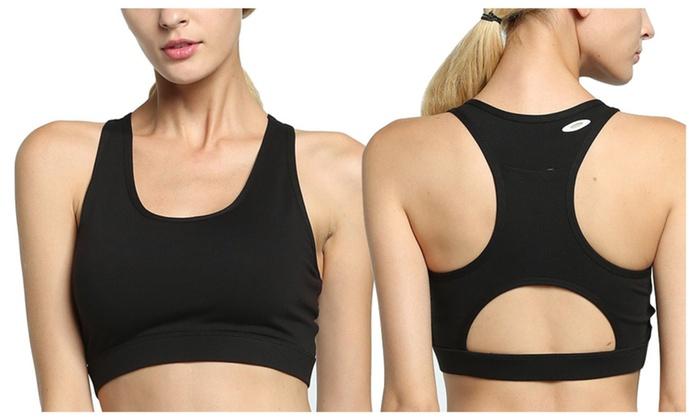 a63eaa28ef1 Women Sport Bra Phone Pocket Running Bras Yoga Fitness Workout Top ...