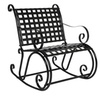 Iron Scroll Rocker Porch Rocking Chair Outdoor Seat Antique Black
