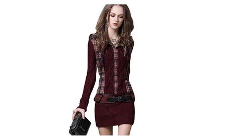 Women's Casual V-neck Foldover Knitted Long Sleeve Sweater Dress b270f2a3-9dd0-4a83-bdc1-633b4eba3f48