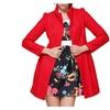 Women's Stand Collar Single Breasted Mid Long Woolen Overcoat Coats